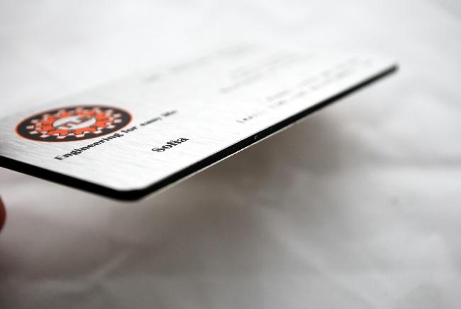 визитка от алуминий метал