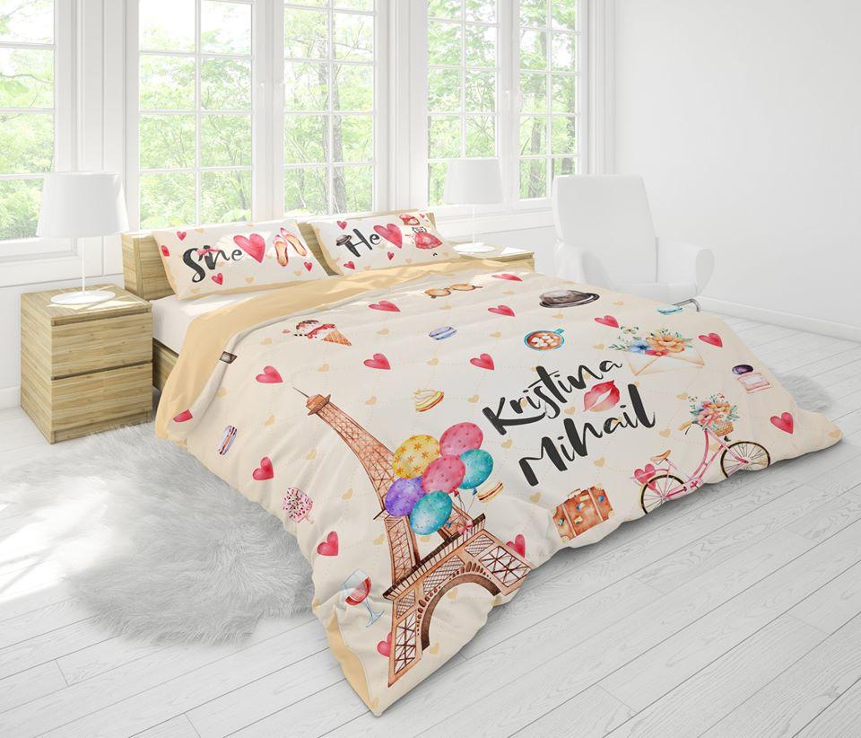 печат върху спално бельо