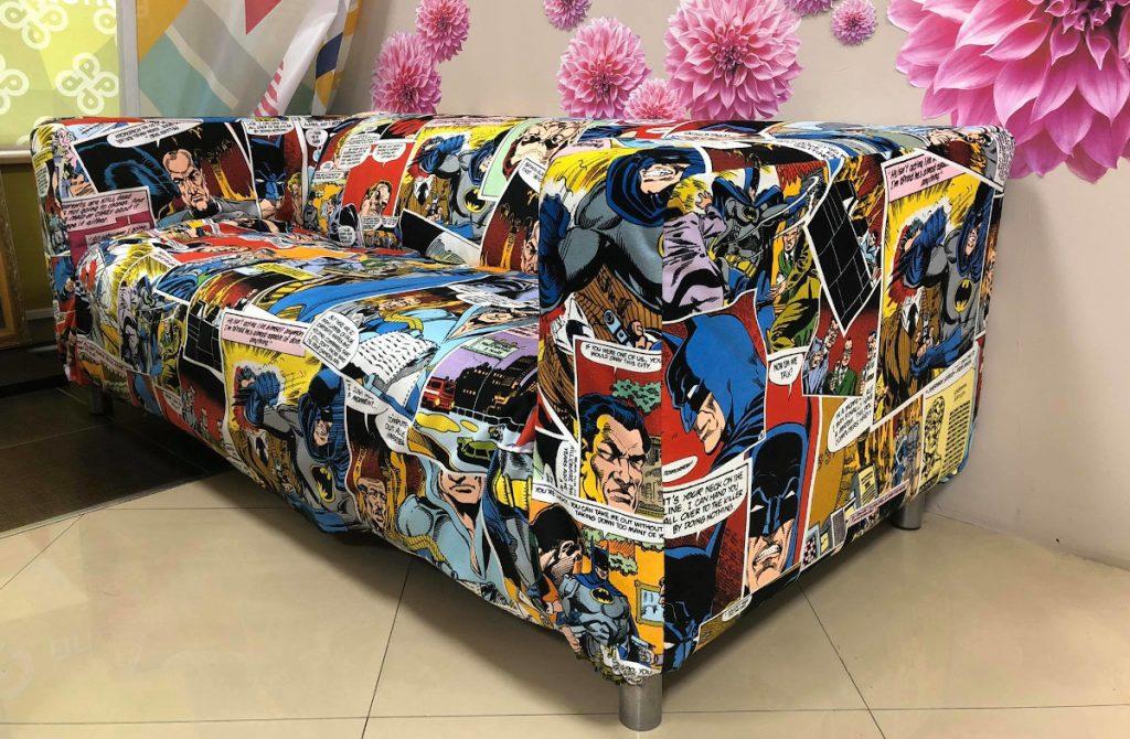 печат на дамаска на диван